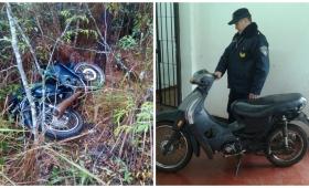 Hallaron en el monte una moto robada