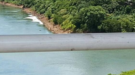 Extraña espuma en el Paraná, baja por el litoral misionero