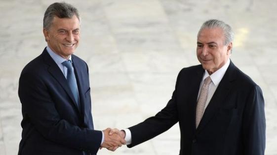 """Macri se reunió con Temer y pidió """"darle un impulso histórico al Mercosur"""""""