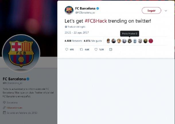 """Algo así como """"Hola Fútbol Club Barcelona. Somos OurMine"""" dando los datos  de contacto y pidiendo disculpas por la broma. 5baea440d13"""