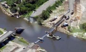 Avanza la instalación del primer puente en el arroyo Guazú