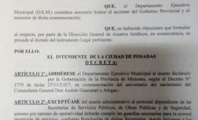La Municipalidad de Posadas decretó asueto