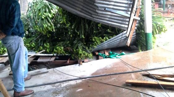 Se cayó el techo del albergue universitario