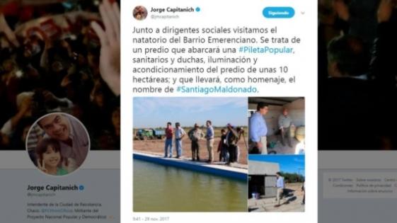"""Capitanich inauguró una pileta y le puso """"Santiago Maldonado"""""""