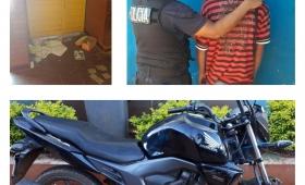 Tres detenidos y una moto recuperada
