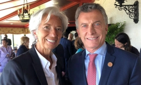 Macri se mostró con Cristine Lagarde antes de la cumbre del G7