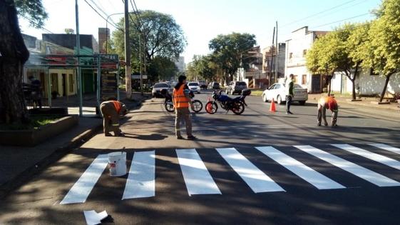 Pintaron las sendas peatonales para prevenir accidentes