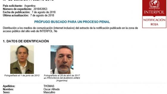 #CuadernosK: Thomas en la lista de prófugos de Interpol