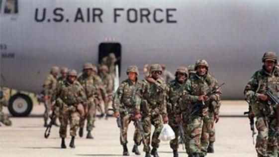 Marcha contra la presencia de fuerzas extranjeras en el país
