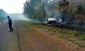 Despistó una camioneta, chocó un pino y se prendió fuego