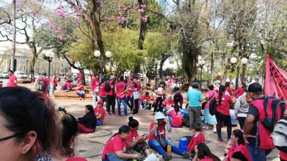 Plaza roja: protesta en la 9 de Julio