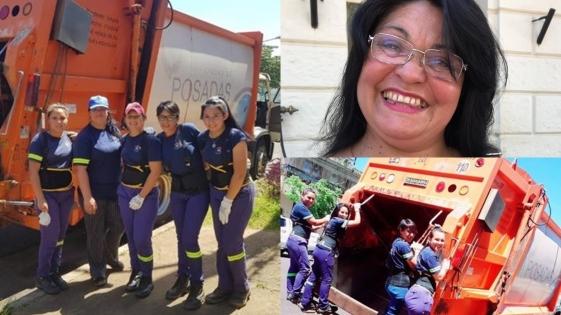 Por primera vez, una mujer conduce un camión recolector en Posadas
