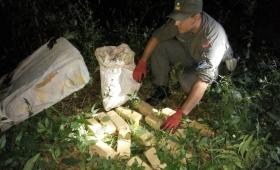 Hallan 11 kilos de droga oculta entre las malezas