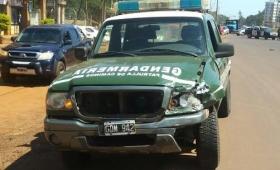 Móvil de Gendarmería involucrado en un choque