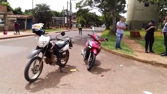 Choque de motos en Miguel Lanús de Posadas