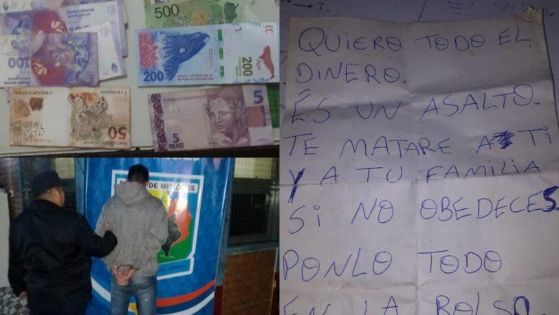 Detuvieron a brasileño que robaba amenazando por nota