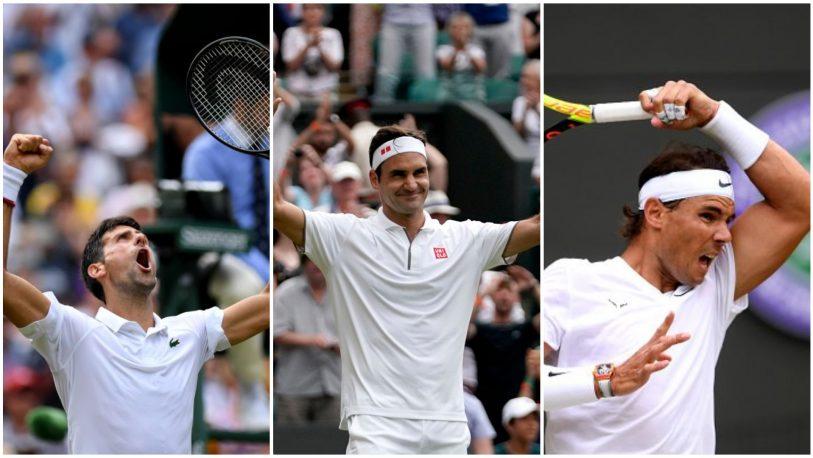 Djokovic, Federer y Nadal a semifinales de Wimbledon