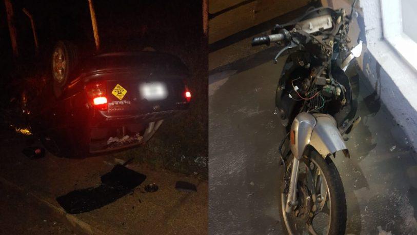 Conductor ebrio chocó a un motociclista, huyó, volcó y fue detenido