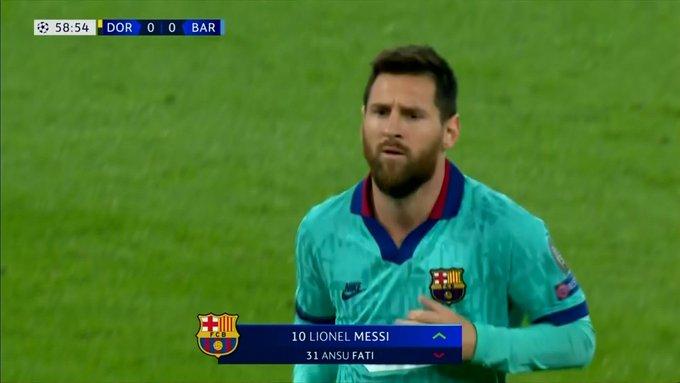 Messi jugó sus primeros minutos en el empate entre Dortmund y Barcelona
