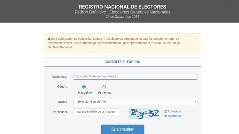 Ya está disponible el padrón definitivo para las elecciones