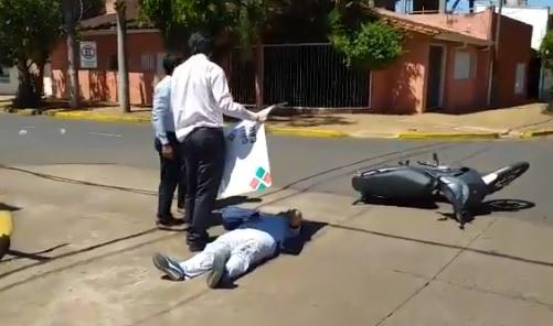 Mujer herida en un choque céntrico