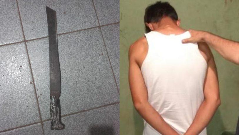 Amenazó de muerte a sus vecinos con un machete y fue detenido