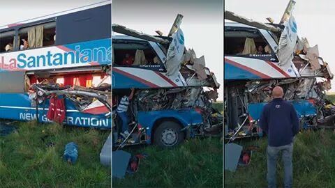 Cuatro muertos en brutal choque entre un camión y un colectivo