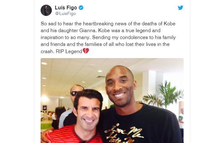 Kobe Bryant: polémica por los tuits de Cristiano y Figo