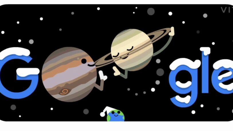 Google dedica su doodle a la Gran Conjunción de Júpiter y Saturno