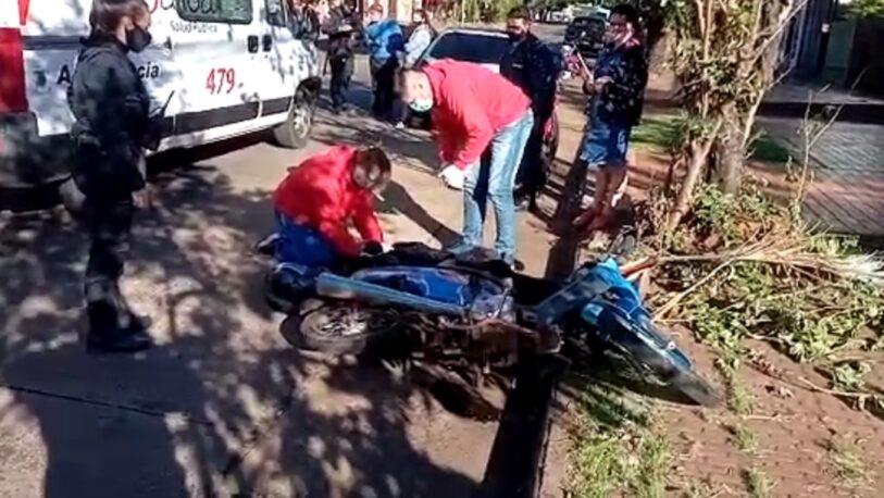 Motociclista herida en avenida Chacabuco