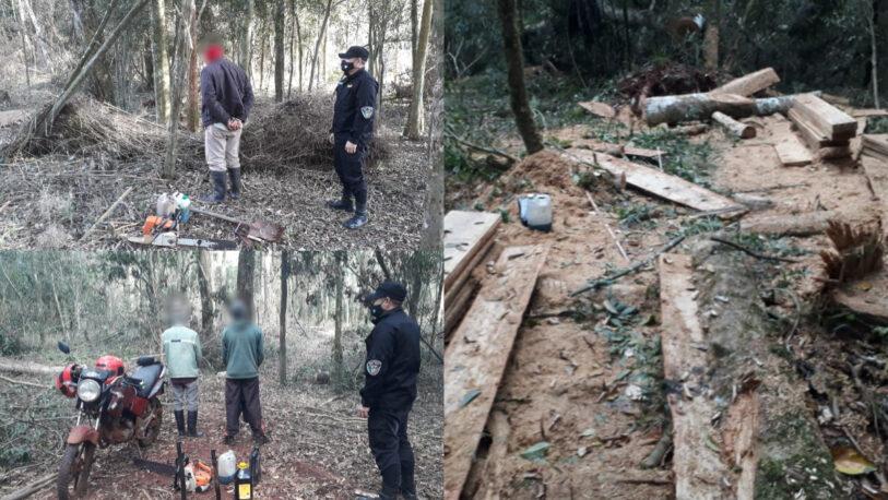 Detuvieron a tres hombres por robar madera en San Pedro