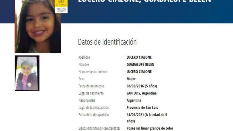 Interpol emitió la alerta amarilla para buscar a Guadalupe fuera del país