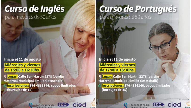 Invitan a participar de cursos de inglés y portugués para mayores de 50 años
