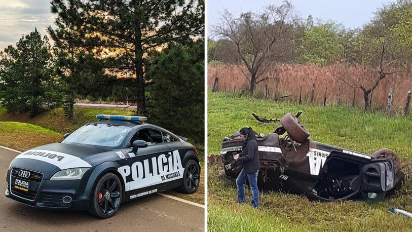 Volcó el Audi TT de la policía y hubo dos efectivos heridos