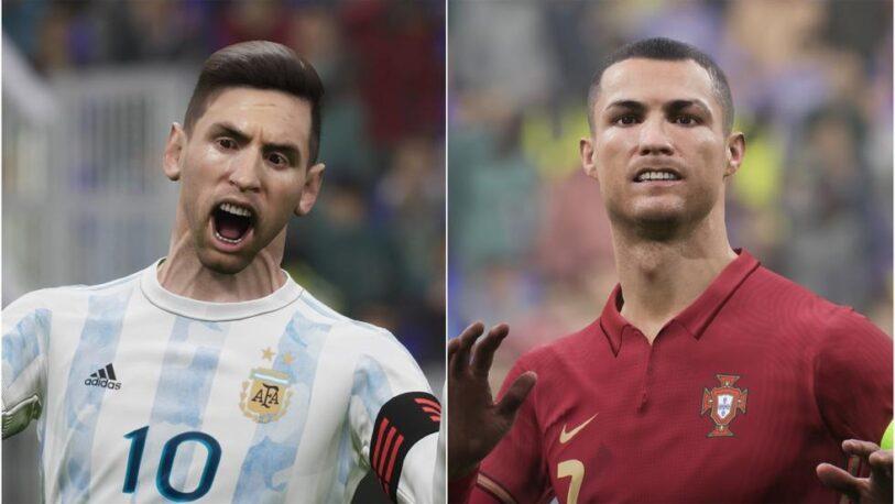 Las imágenes de Messi y Ronaldo en un videojuego que despertaron burlas y críticas