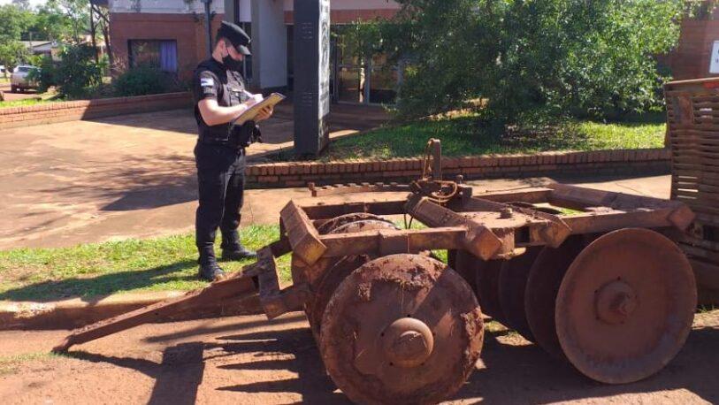 Recuperaron una rastra de arado robado a un colono