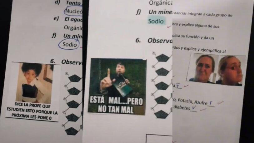 Furor por la maestra que corrige exámenes con memes